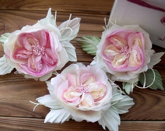 Roses made of silk, rose vinage style, handmade roses, flower brooch, flower for the bride,wedding village,flower in hair,silk floristry