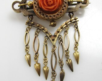 Victorian carved coral rose Etruscan revival pin, 14k yellow gold