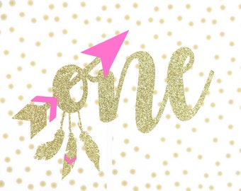 Wild one Cake Topper, Gold and Pink Cake Topper, Wild one Boho Cake, One Cake Topper, Glitter Gold and Pink, One birthday girl!