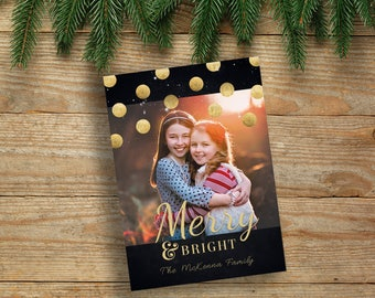 Merry and Bright Christmas Cards, Photo Christmas Cards, Printed Christmas Cards, Holiday Photo Cards, Metallic Christmas Cards