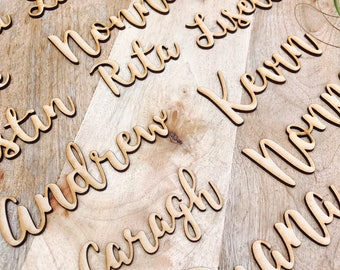 70 x Custom timber place cards, Personalised wooden name places for Wedding, Laser cut timber guest names bonbonniere Plain timber name SPMG