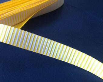 Ribbon GROSGRAIN sold by the yard, 10mm white stripe pattern