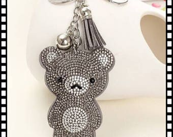 Beautiful key bear rhinestone diameter 7 cm