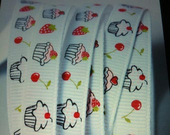 Ribbon GROSGRAIN sold by the yard white 10mm cherry cupcake