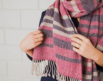 Pink Striped Scarf - Hand Woven Scarf - Merino Wool Scarf - Warm scarf - Women Scarf - Large handwoven scarf