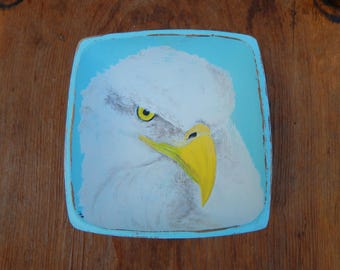 Bald Eagle hand painted wood bowl