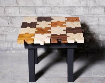 Wooden puzzle table - coffee table handmade - table basse puzzle fait main - table de chevet - nightstand