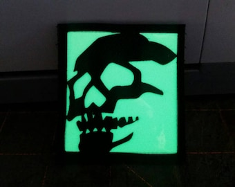 Skull Stencil Glow in the dark laser cut Cordura velcro-backed morale patch.