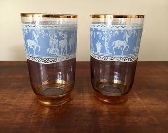 Vintage glassware retro shot glasses barware man cave