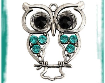 Pendant big Owl obsolete money & Aquamarine 1 x 55 mm