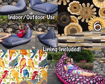 Outdoor Bean Bag Chair or Lounger - Choose Your Size and Pattern - Lining Included -Double Sided