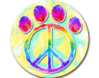 Paw Print Peace Sign Mouse Pad