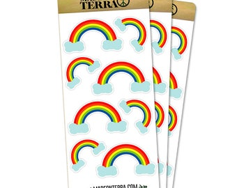 Rainbows In The Clouds Removable Matte Sticker Sheets Set