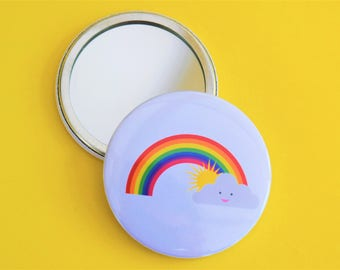 Rainbow pocket mirror / Sunshine pocket mirror / Cute pocket mirror / Handmade pocket mirror