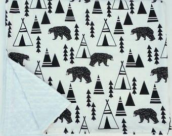 Personalized minky baby blanket, Bear baby blanket, baby lovie, security blanket, baby shower gift, nursery decor, stroller blanket