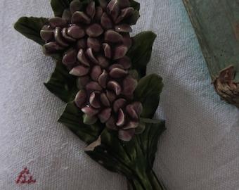 Antique French ceramic flower