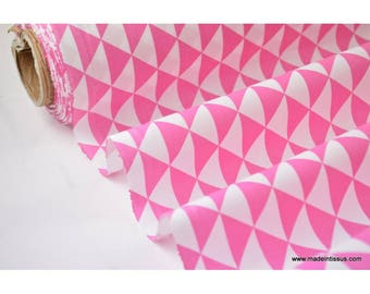 Printed cotton fabric design diamonds fuchsia x 50cm