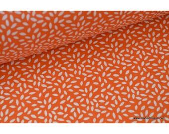 Tissu coton imprimé dessin grains de blé orange x50cm
