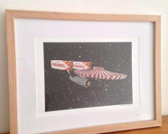 Tunnocks Starship Enterprise Signed A4, Framed Artwork.
