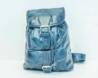 Sapphire Blue Leather Rucksack Backpack (Extra Small)