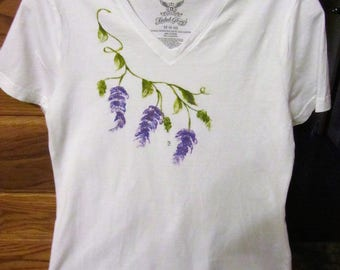 White V-Neck Tee Shirt decorated with Hand Painted flowers, size Ladies Medium, FALL SALE