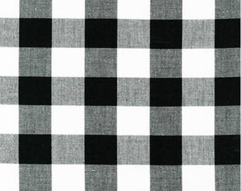 Black and White Plaid Cotton Fabric - Robert Kaufman - Carolina Gingham 1'' P-9811-2 BLACK- Plaid by the Yard- Black Gingham Quilting Fabric