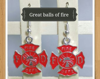 FIRE DEPARTMENT sign symbol EARRINGS
