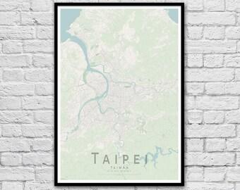 TAIPEI Map Print | Taiwan City Map Print | Wall Art Poster | Wall decor | A3 A2