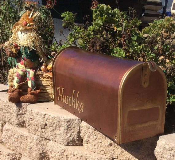 Reserved Listing Rustic Copper Mailbox Copper And Gold