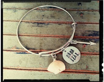 Mama Bear - Charm Bangle - Silver or Stainless Bangle//Stamped Charm//Initial//Arrow//Peach Quartz Zuni Bear - Mom/Sister/Daughter/Wife Gift