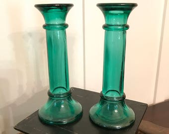 Vintage Green Glass Candlestick Holders