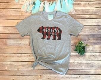 Plaid Mama Bear Shirt, Cute Mama Bear Shirt, Mama Shirts, Mom Shirts, Buffalo Plaid Shirt, Cute Mom T-Shirts, Christmas Gifts for Mom,Family