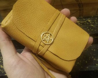 Elk Skin Tarot Bag with Pentacle