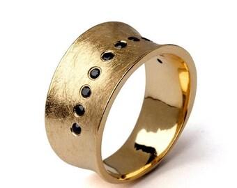SALE 20% Off - LUNA Gold Band Ring, Gold Wedding Band, Wide Gold Band, Wide Wedding Band, Promise Ring, Gemstone Wedding Band
