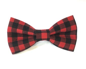 Buffalo Plaid Dog Collar Bow Tie, Dog Bow Tie, Dog Collar bow tie, bow tie for collar, bow tie for collar, hidden strap