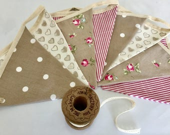 Fabric bunting, taupe & rose pink country, cottage floral, dots, stripes, pink, banner, vintage, shabby chic, garden, kitchen, bedroom, gift