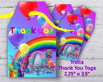 Trolls Thank you Tags Trolls Thank you Tag Trolls Birthday Tags Trolls Tags Trolls Party Supplies Trolls Thanks Tags Trolls Tag Trolls