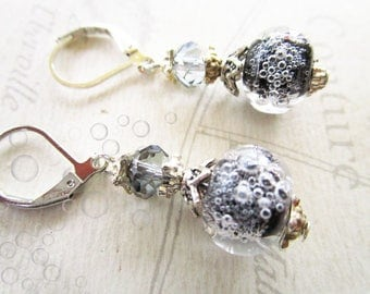 Earrings Pearl spun black and grey bubbles and Crystal