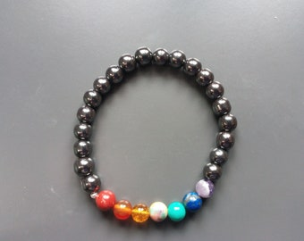 1374 - harmonizing the 7 chakras and hematite beads bracelet