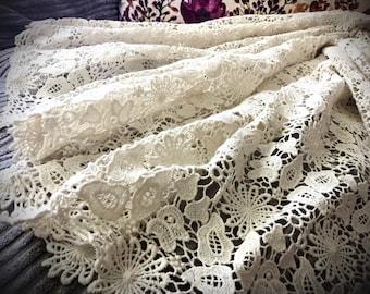 Crochet lace fabric, Bridal lace fabric, Ivory lace fabric,  Lace fabric, Crochet fabric, Floral lace fabric, Elegant fabric