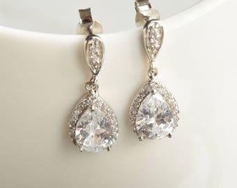 Tear Drop Crystal Earrings, Sterling Silver Drop Earrings, Rhinestone Earrings, Bridal Earrings, Bridesmaids Earrings, Prom Earrings