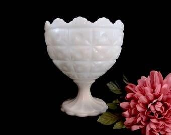 Napco Milk Glass, Pedestal Compote, Quilted Starburst Pattern, No 1185