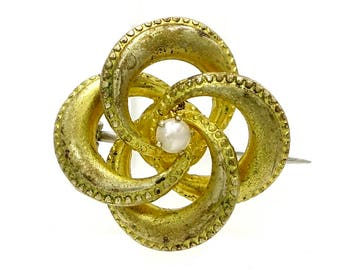 Edwardian Love Knot Pin With Pearl