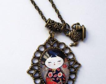 """""""little Japanese"""" bronze cabochon pendant"""