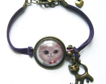 Cat bracelet pink fluffy with bow tie