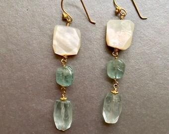 Aquamarine Earrings--Gemstone Earrings--Sterling Silver Hoops--Hoop Earrings