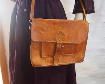 Handmade leather satchel 1970s