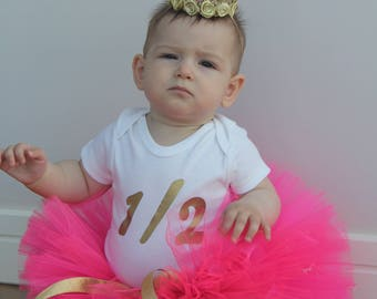 Half Birthday Outfit, Pink and Gold Half Birthday Beauty, Half Birthday Bodysuit, 1/2 Birthday Outfit, 6 Month Birthday Tutu Outfit