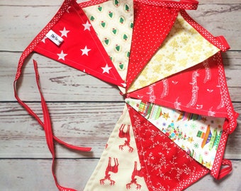 Red & Gold Festive Bunting, Double Sided Luxury Pennants, Holiday Decor, Home Decor, Christmas Bunting 1.6m/2.1m long