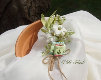 Spring White and Green Silk Flower Corsage, Shoulder Corsage, White Shoulder Corsage